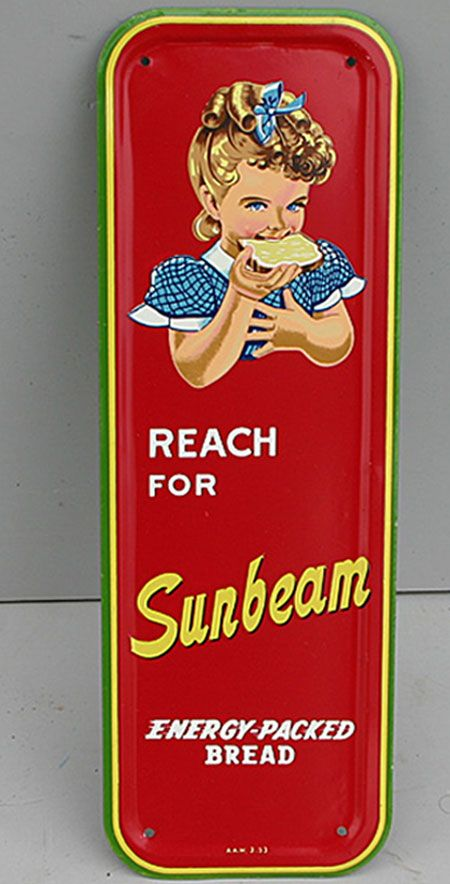 Sunbeam Bread Door Push Plate  produced in 1953, but never used, which makes it a rare item for the serious collector.