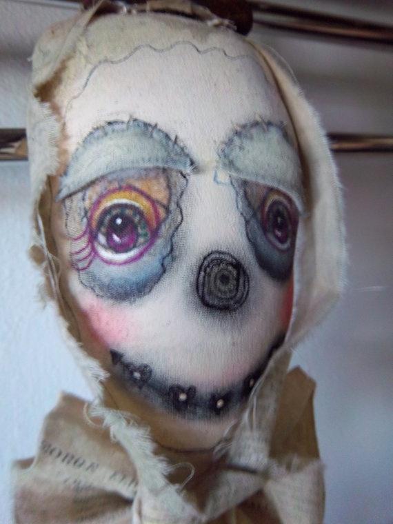 Clown art doll handmade altered folk art by SweetMeadowDesigns, $29.50