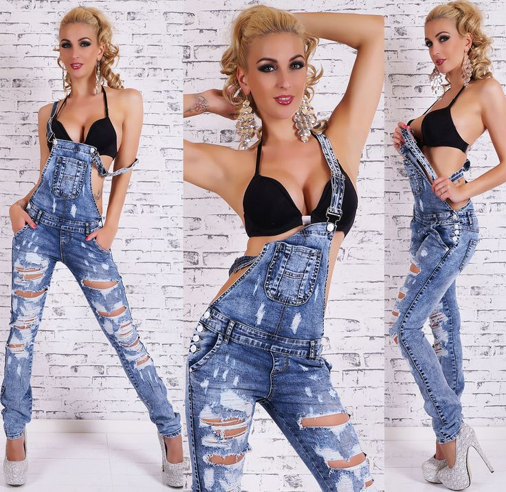 Sexy Women's Jeans Jumpsuit Baggy Bib Overall Destroyed Look Pants Size 6-14 #1ukcompany #Jumpsuit