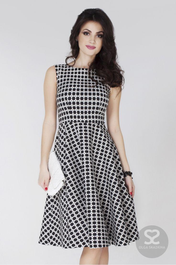 Стильное платье с черно-белым принтом в интернет-магазине дизайнера | Skazkina
