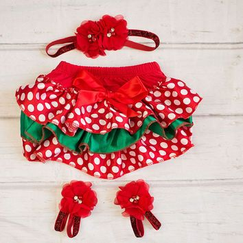 Christmas outfit..Christmas Bloomer Headband.. Infant Christmas Outfit, Toddler Christmas Outfit..Christmas Photos