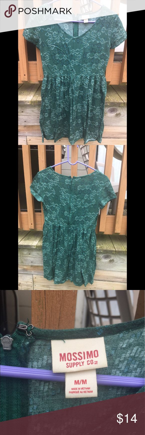 Green printed dress from Target Sort of a baby doll style dress, I'm taller and my legs make the dress much to short on me. Good condition it isn't ironed so it looks messy. Mossimo Supply Co. Dresses