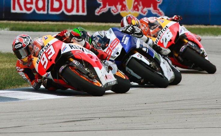Marquez, Lorenzo, Pedrosa. MotoGP Indianapolis 2013
