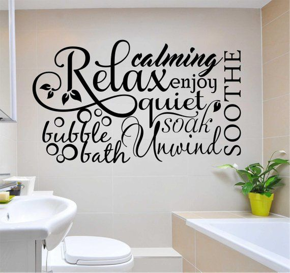 bubble bath relax word collage decal, bathroom quote, vinyl wall