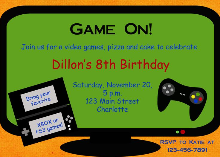 video game party invitation template free - Google Search