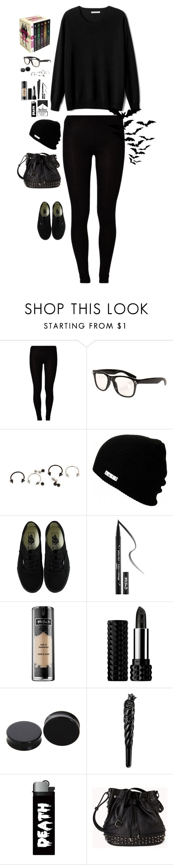"""""""I'm A Book Nerd and I Wear A Lot Of Black"""" by tellthewolvesimhome ❤ liked on Polyvore featuring Mead, Majestic, MTWTFSS Collection, Neff, Vans, Kat Von D, Anna Sui and Forever 21"""