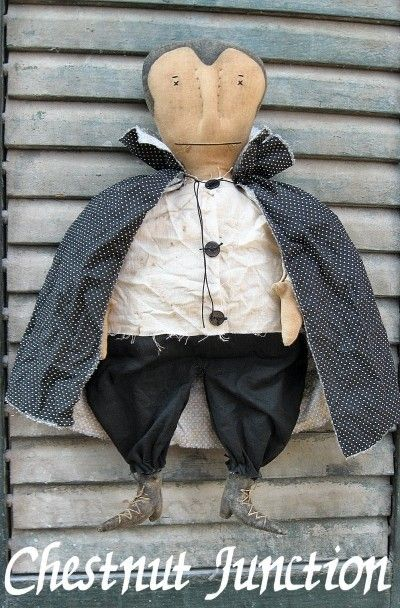Primitive Dracula doll epattern for Halloween. He will measure 14 when complete. ePattern is INSTANT DOWNLOAD...no waiting!!! You are not purchasing the finished Dracula doll...you are purchasing a digital download epattern file. Thanks so much for stopping by Chestnut Junction!!! Happy Crafting