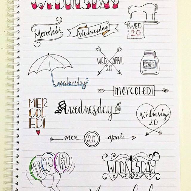 some inspiration for your next wednesday! _ un po' d'ispirazione per il vostro prossimo mercoledì  #wednesday #banner #bulletjournal  #stationary #stationaryaddict #handlettering #calligraphy #handlettered #moderncalligraphy  #midoritravelersnotebook #lettering #font #rockyourhandwriting #type #letters #filofaxgoodies #planner #planning #planneraddict #plannernerds #plannercommunity #plannersupplies #planwithmechallenge #filofax #plannerlove #bulletjournaljunkies #bulletjournalchallenge…