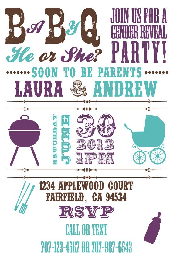Printable Baby Q Gender Reveal/ Baby Shower BBQ by PuzzlePrints