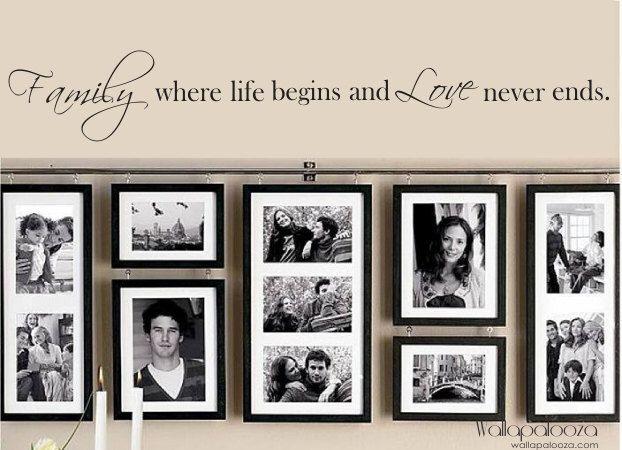 Famille Wall Decal - famille où la vie commence et l'amour ne finit jamais. Citation d'autocollant de mur. Wall sticker vinyle. par WallapaloozaDecals sur Etsy https://www.etsy.com/fr/listing/100455319/famille-wall-decal-famille-ou-la-vie