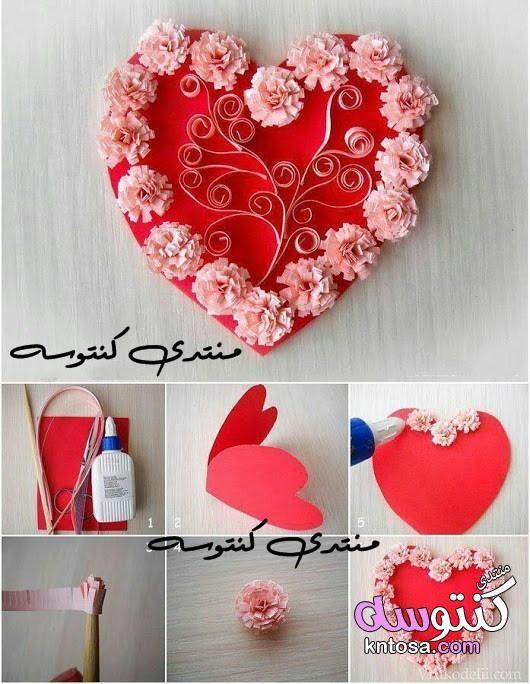 عمل قلب مجسم بالورق طريقة عمل اشكال بالفوم بالصور كيفية صنع هدايا بسيطة للاصدقاء عمل فني بالاعواد Kntosa Com Valentines Card Design Valentines Cards Valentine