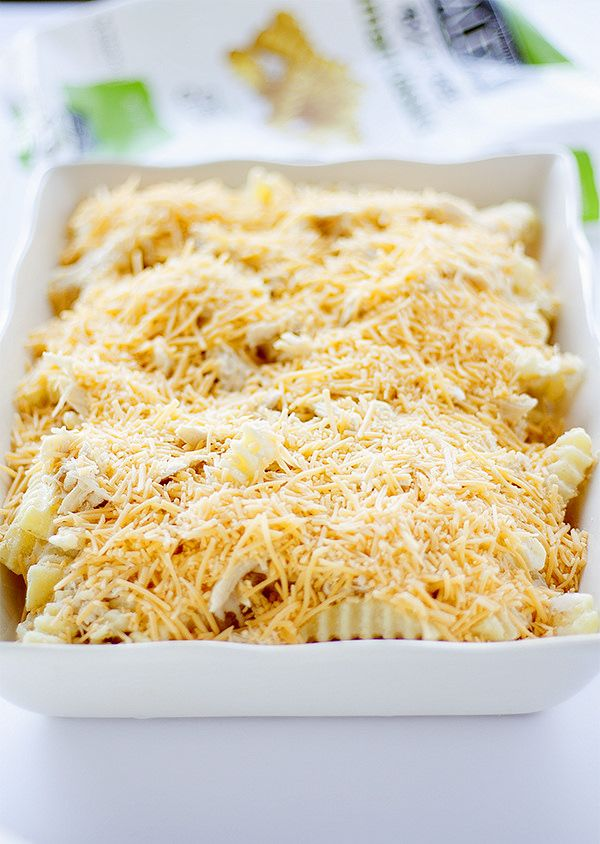 cheesy french fry casserole with chicken - layer 3 @AlexiaFoods #farmtoflavor