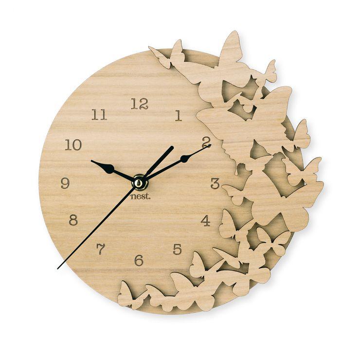 Flutter (Butterflies) Wooden Clock