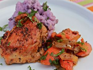 Chicken En Escabeche With Purple Mashed Potatoes | Serious Eats
