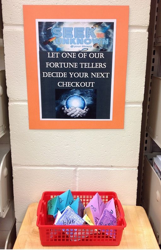 Display for Teen Read Week. Seek the Unknown with fortune tellers. I love it!!