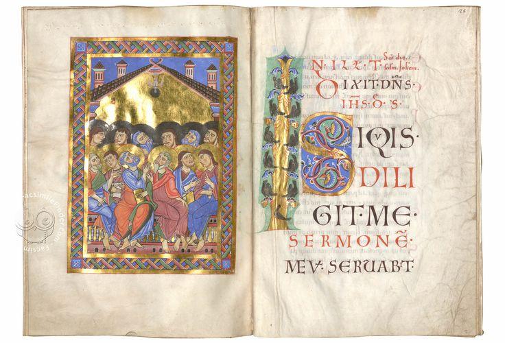 The Passau Evangelary, Munich, Bayerische Staatsbibliothek, Clm 16002, Passau Evangelary - f. 27v-28r (Pentecost)
