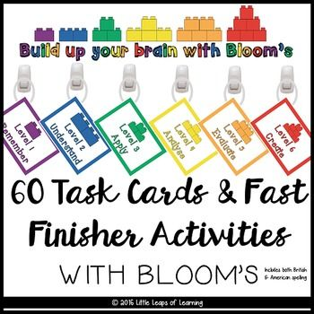 Task cards and fast finisher activities based on Bloom's taxonomy. Have your students practice important thinking skills such as comparing, examining, ordering, judging as a fast finisher activity! It works with any topic or unit you are working with all year