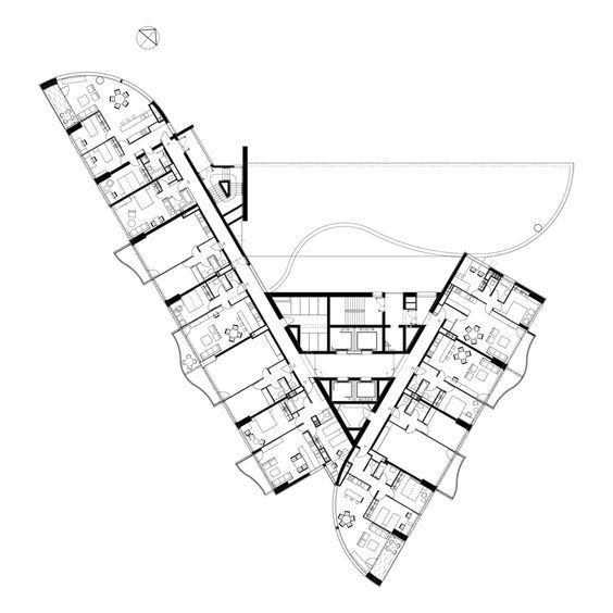 H. Seidler, Viena. The extended triangular plan shape of the 32 storey tower is derived from the aim to maximise the fine water views for all apartments. The l...