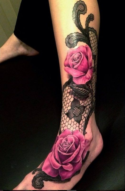 Foot Leg Tattoo Power Flowers  - http://tattootodesign.com/foot-leg-tattoo-power-flowers/  |  #Tattoo, #Tattooed, #Tattoos