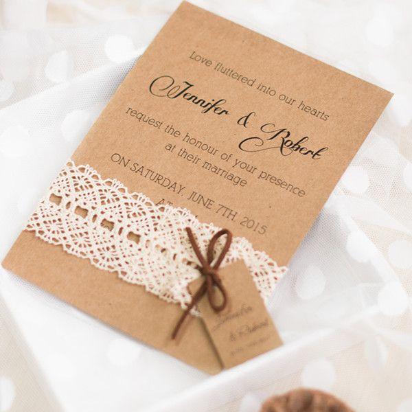 Faire part de mariage de la dentelle en papier brun épais JM704 A partir de 1.70€
