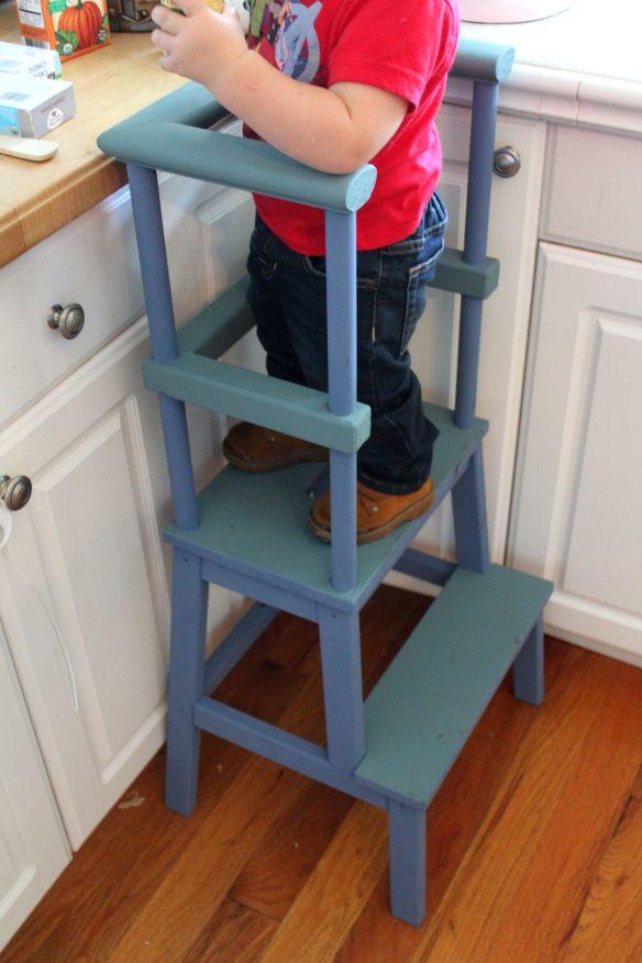Kitchen Helper Stool, Toddler Stool DIY, Ikea Hack, Ikea Bekvam Hack