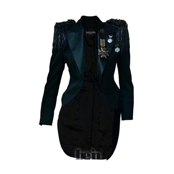 Пиджак-фрак женский черный с эполетами Balmain где купить. Цены,... ❤ liked on Polyvore featuring balmain