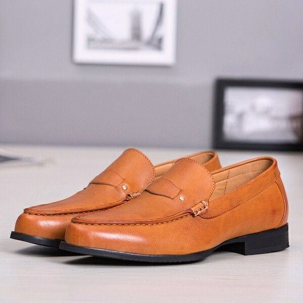 Delicate Old Fashion Italian Round Toe Light Penny Loafers ...
