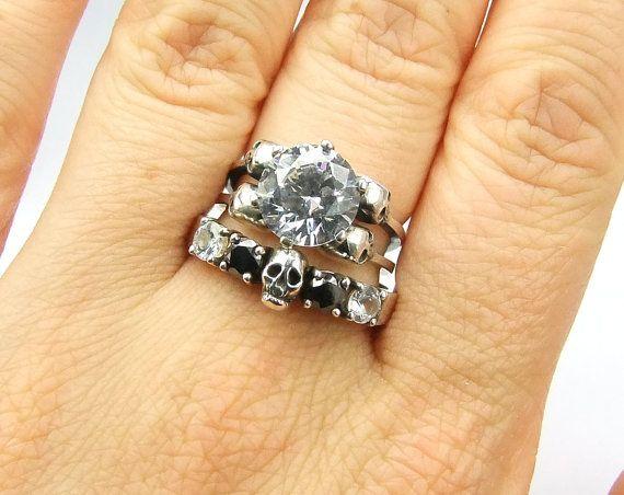 Skull Wedding Ring Black Diamond Sterling by KipkalinkaJewels