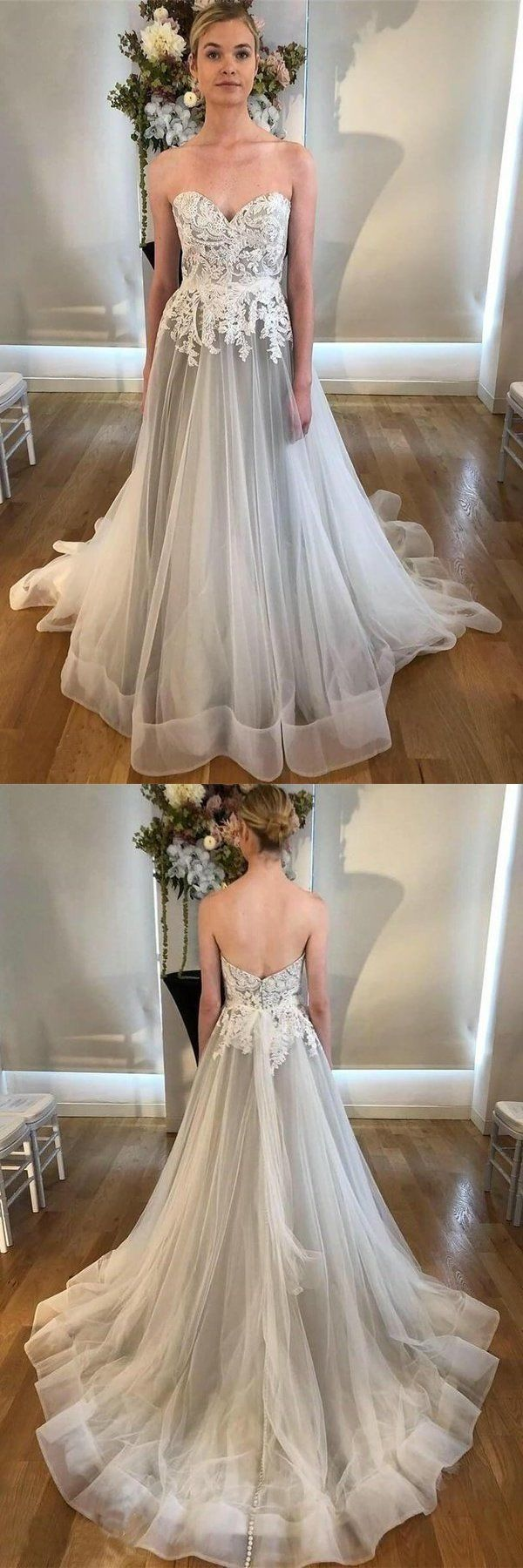 A Line Sweetheart Strapless Backless Silver Grey Tulle Wedding Dresses With Sweep Train Grey Wedding Dress Strapless Wedding Dress Sweetheart Chic Wedding Dresses [ 1800 x 600 Pixel ]