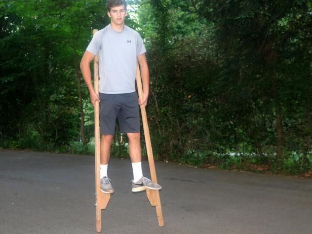 DIY Network has instructions on how to make an adjustable set of stilts. This simple woodworking project is great for beginners or a shared project to make with the kids.