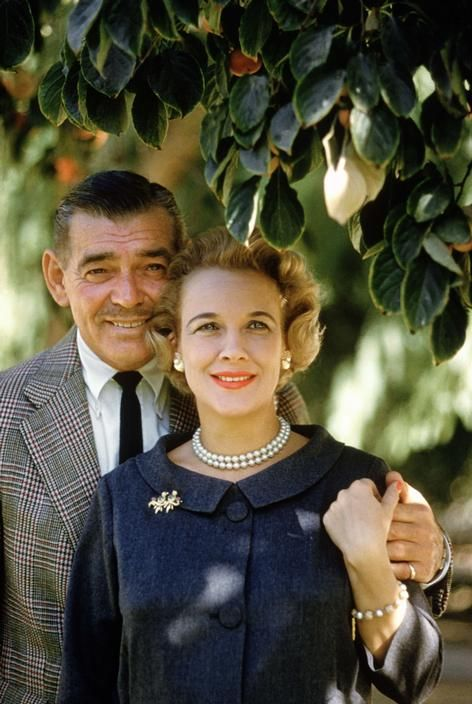 Clark Gable and his last wife, Kay, in Encino in 1960.  He died later that year shortly before she gave birth to his son, John Clark Gable.  His only other known child was his secret daughter, Judy Lewis, born to Loretta Young In 1935.  She revealed her true parentage in a 1995 autobiography, Uncommon Knowledge.