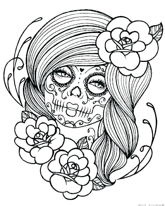 Day Of The Dead Coloring Pages Skull Coloring Pages Skull Girl
