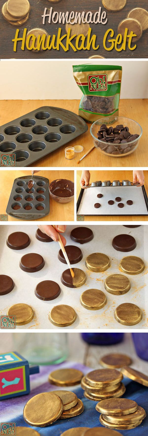 Homemade Hanukkah Gelt by Oh Nuts!  Hanukkah gelt is a Jewish tradition where children receive gelt (the Yiddish word for money) during the festival of lights!  This tradition has since been modernized, and now children typically receive gold coin chocolates as Hanukkah Gelt!