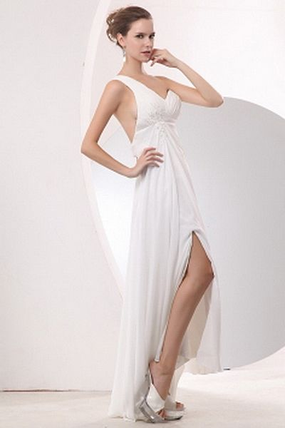 Chiffon Elegant One-shoulder Cocktail Gowns wr2036 - http://www.weddingrobe.co.uk/chiffon-elegant-one-shoulder-cocktail-gowns-wr2036.html - NECKLINE: One-shoulder. FABRIC: Chiffon. SLEEVE: Sleeveless. COLOR: White. SILHOUETTE: A-Line. - 145.59