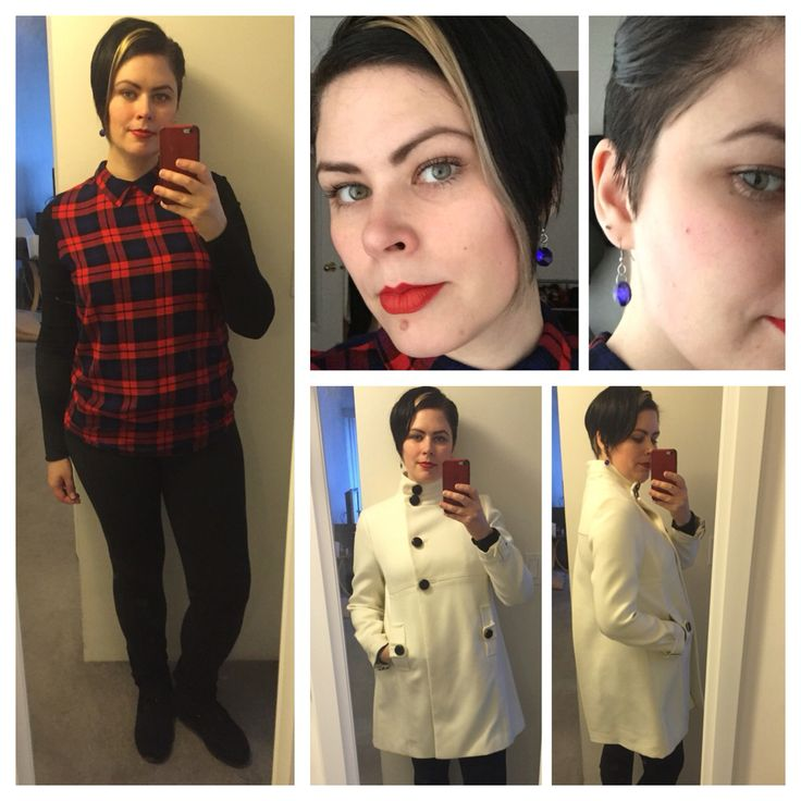 Dec. 27, 2015: Yes, the coat is off white, it's by Anne Taylor and I love the details and fit. I found it at a vintage shop and got my hubs to buy it for me for Christmas. Ill be replacing the cuff buckles cause the back is rusted, and the buttons cause they have gold trim. I gave up on trying to find a pure white coat that I liked and was in my price range. New way of wearing my hair, short side pinned up, front of long side pinned up. I like this option, heck I like all the options. The…