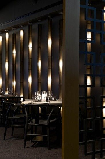 Restaurant wooden light wall treatment screens