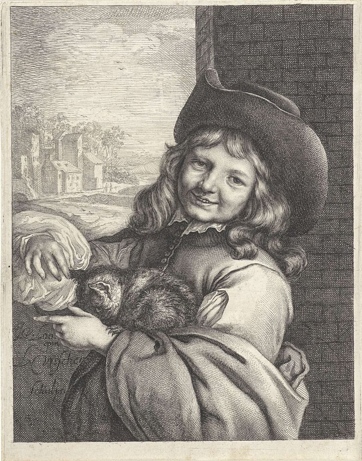 Lambert Visscher   Lachende jongen met kat, Lambert Visscher, 1643 - 1690   Een lachende jongen met een kat op zijn arm. Hij staat voor een muur en draagt een hoed. Op de achtergrond een glooiend landschap met een dorp.