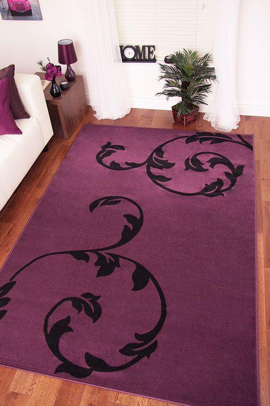 Shiraz Modern Purple Aubergine Black Motif Rug - Small Large Cheap Rugs 3 Sizes | eBay