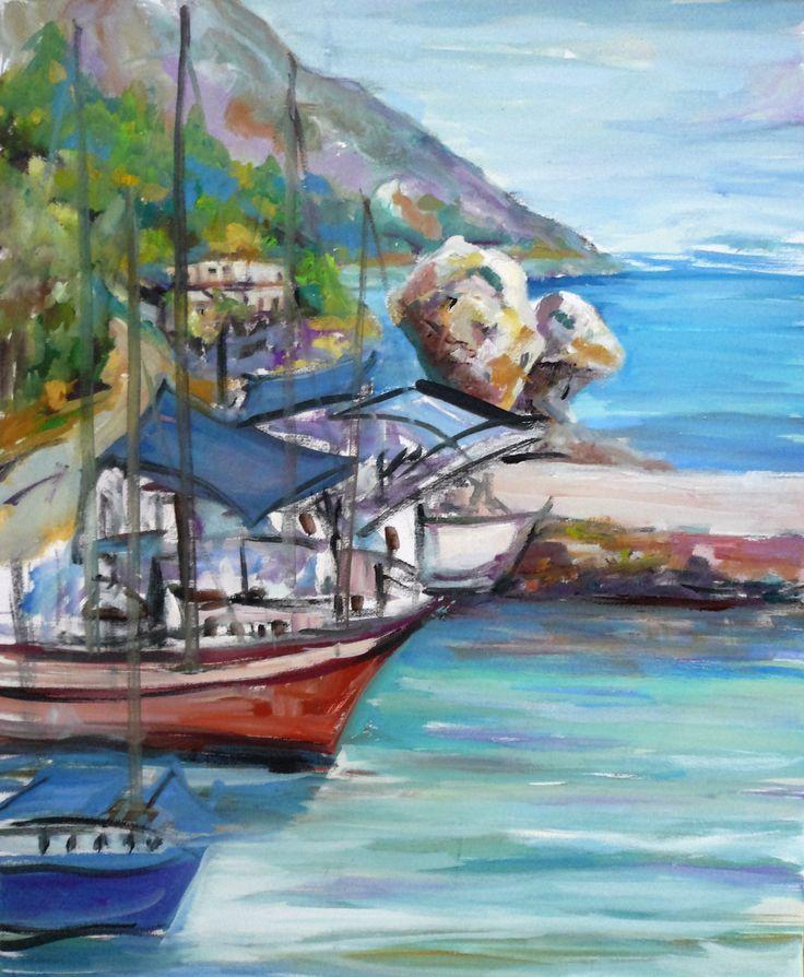 Boats at Poros Port, Kefalonia by Katerina Panagatos