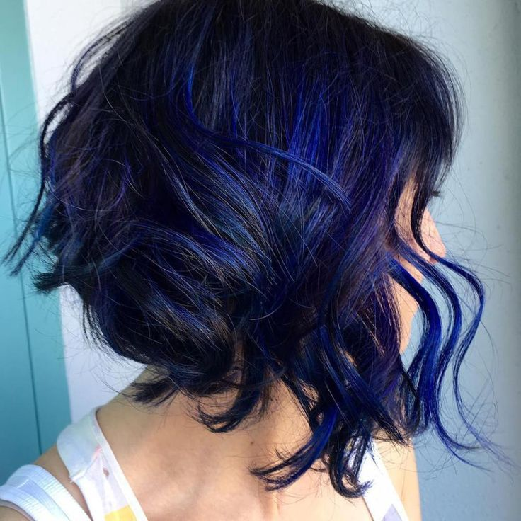 Black Angled Bob With Blue Highlights