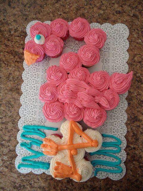 Pink Flamingo pull apart cupcake cake
