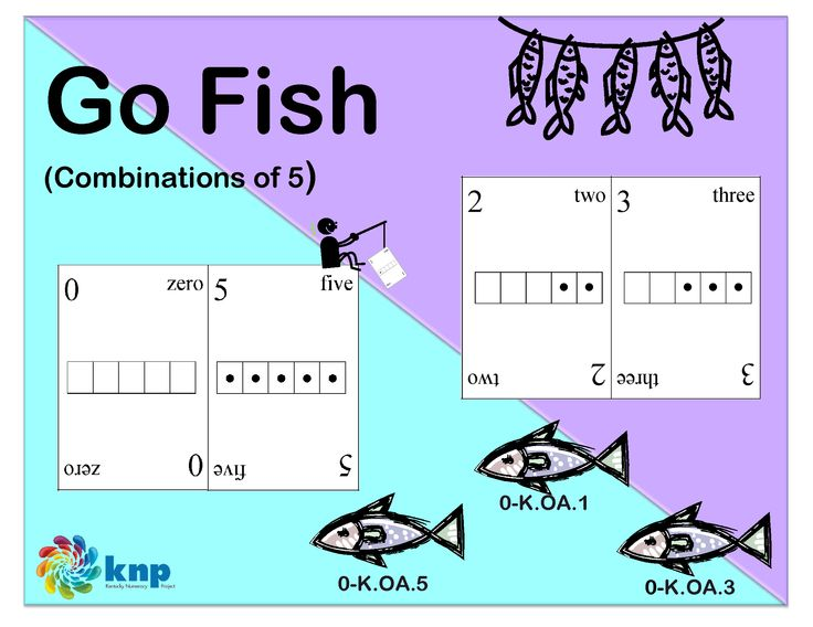 """Go Fish (Combinations of 5)"" - [Grade: K] This game is not only fun, but also a great way to help kids learn different ways to make the number 5! That seems pretty simple to us, but it isn't always that easy for kids. Young children need lots of practice with figuring out ways to put numbers together and ways to take numbers apart."