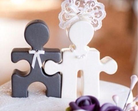 Bride and groom puzzle pieces