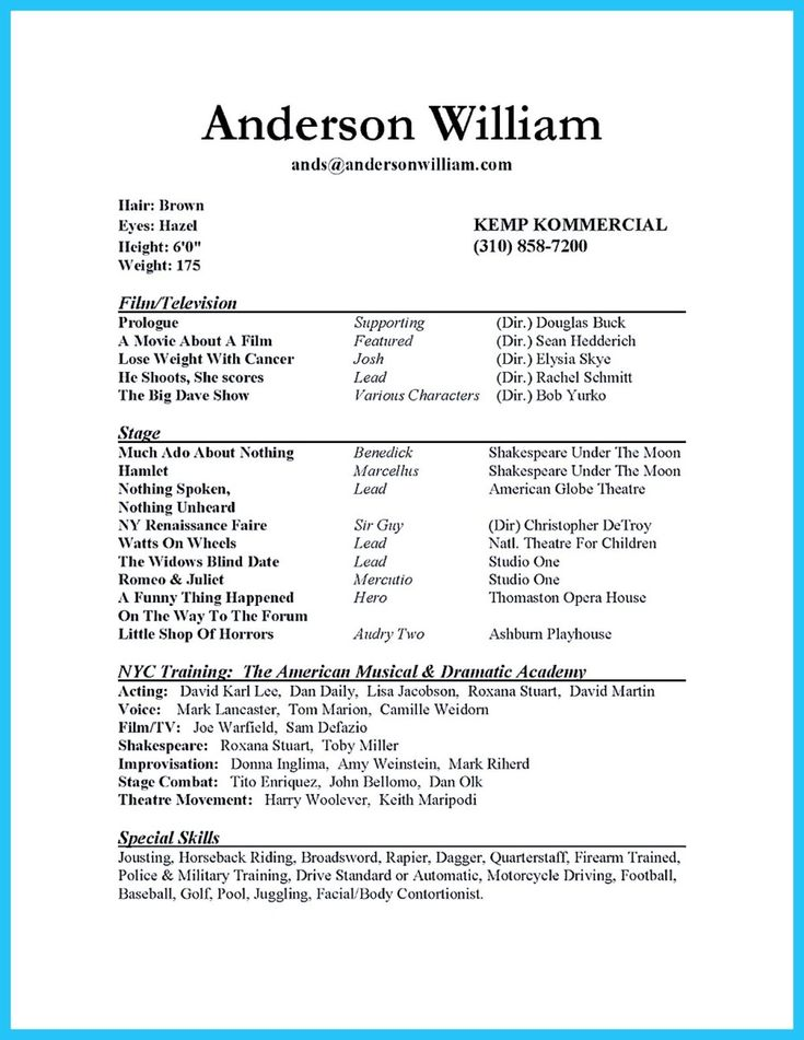 nice outstanding acting resume sample to get job soon - Theatre Administration Sample Resume