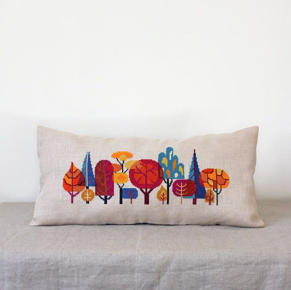 Forest modern trees cross stitch embroidery by SatsumaStreet