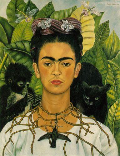 Frida Kahlo paintings - self portrait.  My favorite painting as a senior in highschool.