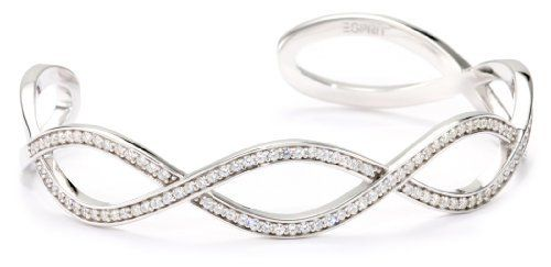 """ESPRIT """"Interlace"""" White Cubic Zirconia Bangle Bracelet ESPRIT. Save 72 Off!. $50.99. Made in CN. Made in China. White cubic zirconia"""