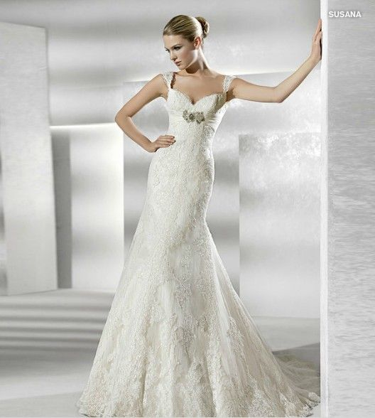 Lace Mermaid Wedding Dress with Wide Straps