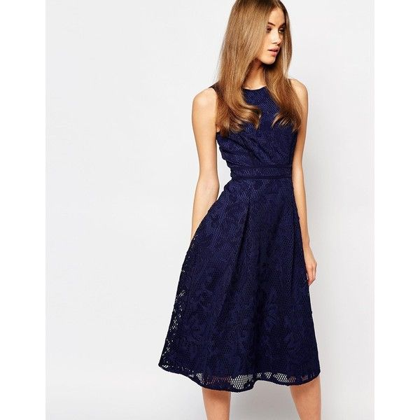 Warehouse Premium Lace Midi Skater Dress (200 AUD) ❤ liked on Polyvore featuring dresses, navy, navy dress, tall dresses, skater dress, pleated dress and midi skater dress