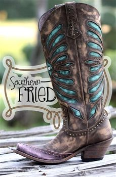 stivali ragazza del sud - Brown & Turquoise $300.00 avail at Southern Fried Chics (FB)